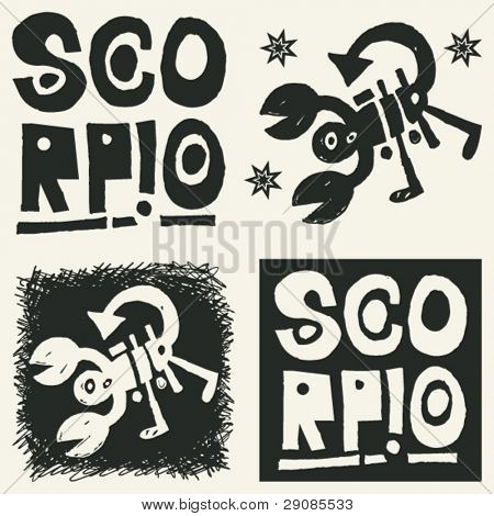 naive abstract horoscope, hand drawn sign of the zodiac scorpio