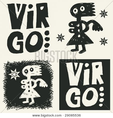 naive abstract horoscope, hand drawn sign of the zodiac virgo