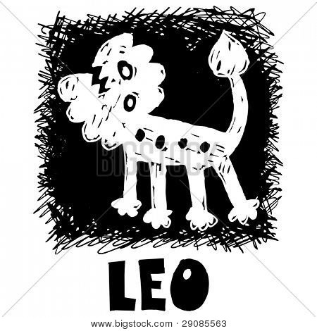 hand drawn sign of the zodiac leo isolated on white background