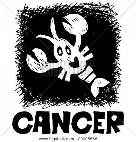 hand drawn sign of the zodiac cancer isolated on white background