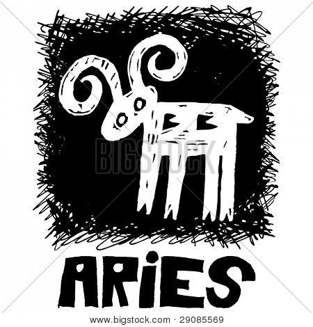 hand drawn sign of the zodiac aries isolated on white background