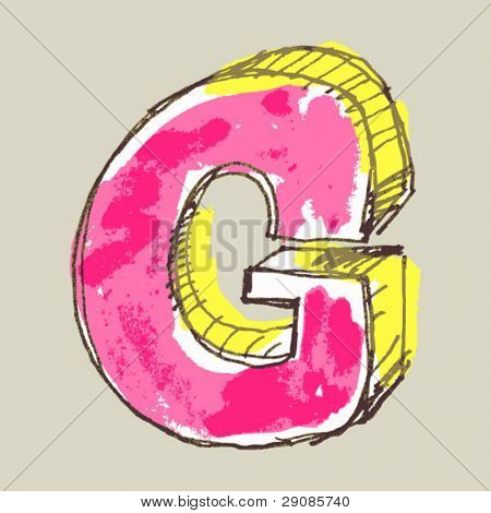 childlike gouache alphabet, hand drawn letter G