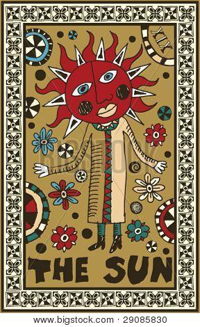 hand drawn tarot deck, major arcana, the sun