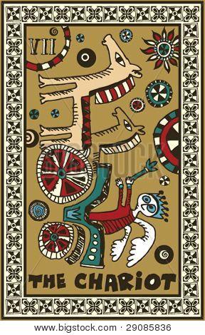 hand drawn tarot deck, major arcana, the chariot
