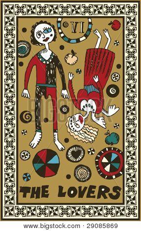 hand drawn tarot deck, major arcana, the lovers