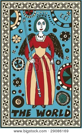 hand drawn tarot deck, major arcana, the raster version, the world