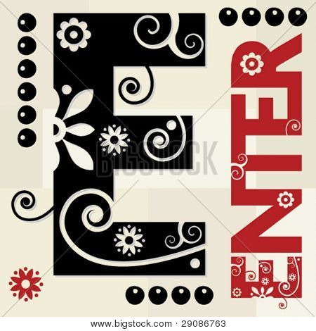 floral ABC, ornamental letter E