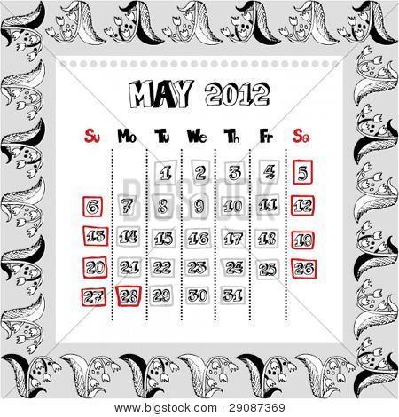 doodle calendar for year 2012, May