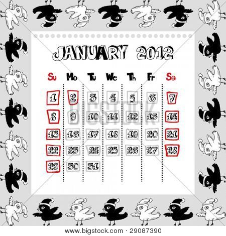 doodle calendar for year 2012, January