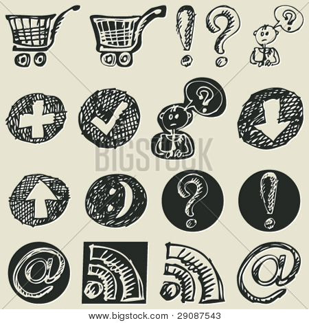 childlike sketchy icons, hand drawn design elements