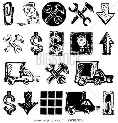 sketchy icons isolated on white background