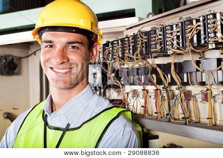 portrait of male caucasian industrial technician