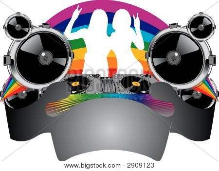Twin Girls Silhouette, Turntable, Sound, Rainbow And Banner.
