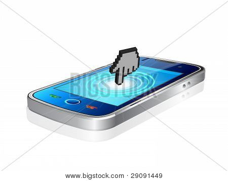 Mobile Phone And Hand Cursor