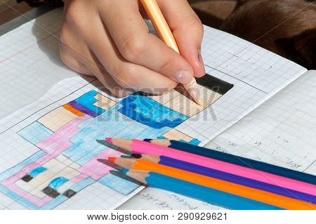 Child Hand Draws The Multicolored