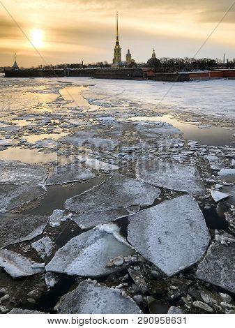 Frozen Neva River With Ice