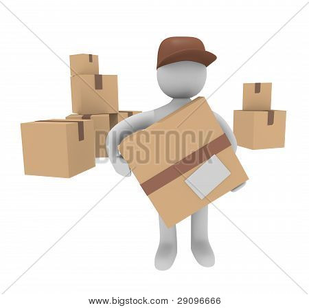 Cheerful parcel deliverer