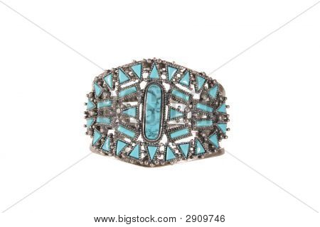 Turquoise & Silver Bracelet With Clipping Path