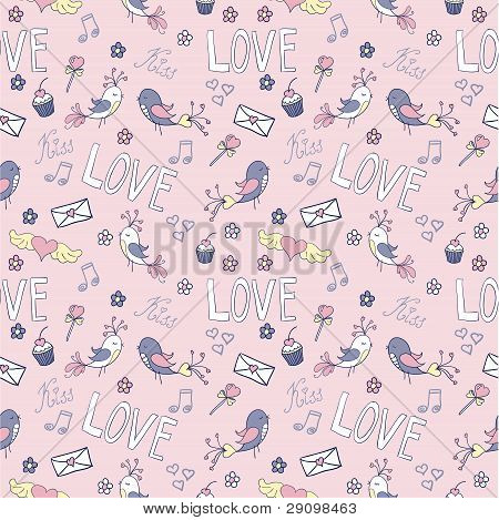 Valentine's day cute seamless pattern