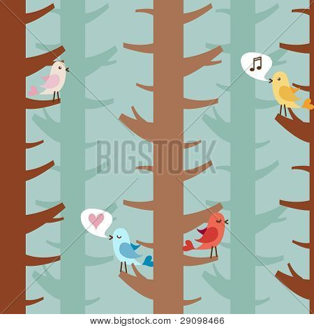 Love birds on trees