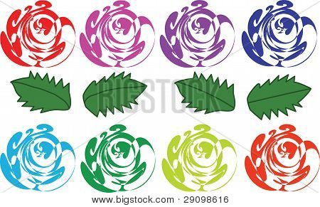 Varicoloured Abstract Roses And Leaves