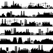 Factory Construction Silhouette. Industrial Factories, Refinery Panorama And Manufacture Buildings S poster