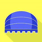 Blue Round Awning Icon. Flat Illustration Of Blue Round Awning Vector Icon For Web Design poster