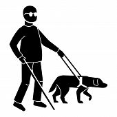 Blind Man With Dog Icon. Simple Illustration Of Blind Man With Dog Vector Icon For Web Design Isolat poster