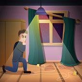 Private Crime Investigation Concept Background. Cartoon Illustration Of Private Crime Investigation  poster