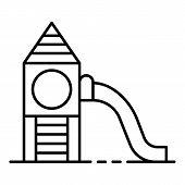 Recreation Kid Slide Icon. Outline Recreation Kid Slide Vector Icon For Web Design Isolated On White poster