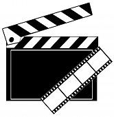 pic of crew cut  - movie film strip and clapboard in black and white - JPG