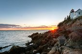 Sunset Over Picturesque Bass Harbor Lighthouse On Mt Desert Island, Maine poster