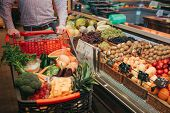 Young Man Alone In Grocery Store. Cut View Guy Hold Trolley Hand. Basket Full Of Vegetables And Frui poster