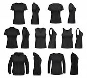 Women Clothes Isolated Mockups. T-shirt And Hoodie, Sweatshirt, Polo And Singlet, Sleeveless Shirt A poster