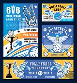 Volleyball Sport, Ball And Whistle. Vector Sport Competition At School, Trophy Cup And Net, Ball Wit poster