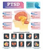Ptsd Vector Illustration. Labeled Anatomical Mental Disorder Causes Scheme. Compared Healthy And Pro poster