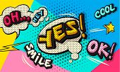 Yes! Pop Art Cloud Bubble. Wow Funny Speech Bubble. Trendy Colorful Retro Vintage Background In Pop  poster