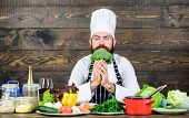 Fresh Ingredients Only. Culinary Recipe Concept. Man Bearded Hipster Cooking Fresh Vegetables. Fresh poster