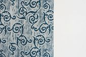 Blue Curtain Fabric Sample. Curtains, Tulle And Furniture Upholstery poster