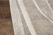 Close Up Of Beautiful Tulle. Sheer Curtains Fabric Sample. Texture, Background, Pattern. Interior De poster