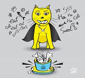 Yellow Cat Eat Fish Vector Illustration, Time To Enjoy Eating, Dracula Cat, Pet Animal Bowls With Fo poster