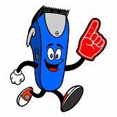 Electrical Hair Clipper Mascot Running With A Foam Hand - A Vector Cartoon Illustration Of A Barber  poster