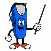 Electrical Hair Clipper Mascot With A Pointer - A Vector Cartoon Illustration Of A Barber Shop Elect poster