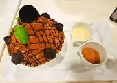 Bingsu Dessert On White Table Background, Top View Choco Volcano Bingsu On White Bowl, This Dessert  poster