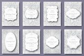 Set Of Wedding Card Flyer Pages Ornament Illustration Concept. Vintage Art Traditional, Islam, Arabi poster