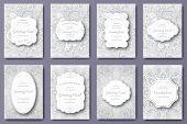 Set Of Wedding Card Flyer Pages Ornament Illustration Concept. Vintage Art Traditional, Islam, Arabi poster