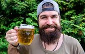 He Is In A Happy Mood. Happy Drinker. Happy Hipster Holding Beer Mug. Bearded Man Happy Smiling With poster