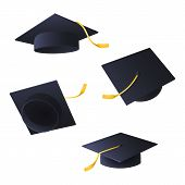 Flying Graduation Caps. Set Of Black Caps With Tassels. Can Be Used For Topics Like University, Dipl poster