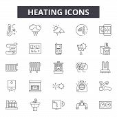 Heating Line Icons For Web And Mobile Design. Editable Stroke Signs. Heating  Outline Concept Illust poster