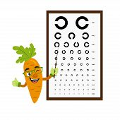 Carrot Check Vision With Vision Test Chart. Vision Concept. Vector Illustration. Cartoon Food Charac poster